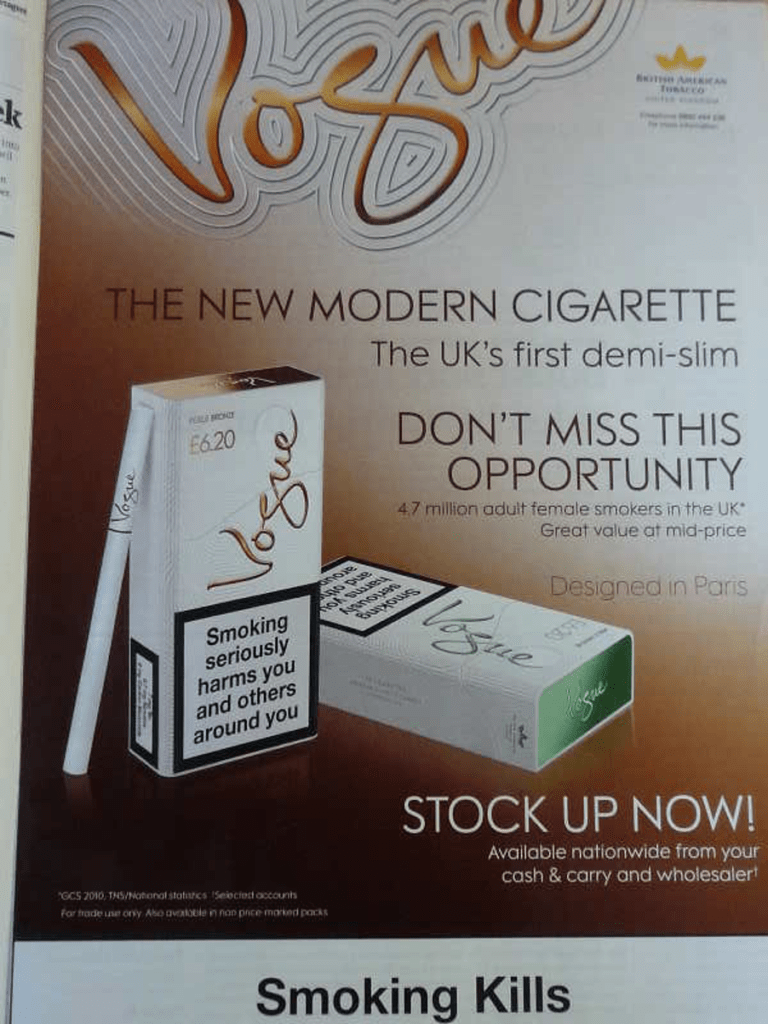 """A newspaper advertisement for British American Tobacco's """"Vogue"""" cigarettes. The image includes the text: """"The New Modern Cigarette. The UK's first demi-slim. Don't miss this opportunity""""."""