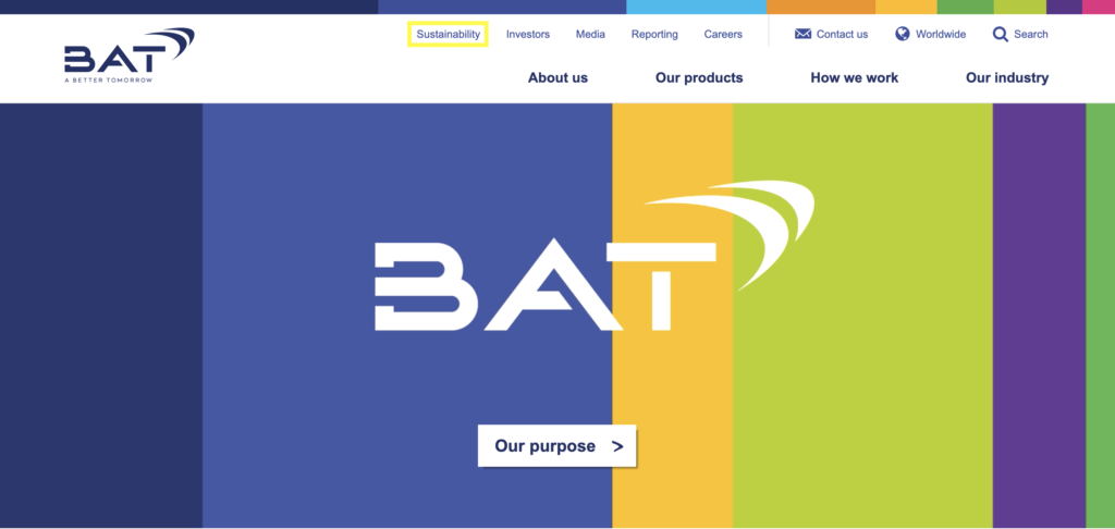 """A screenshot of the British American Tobacco website, taken in March 2020. The website is rainbow themed and has new logo. A yellow box emphasises the presence of a """"Sustainability"""" tab in the top menu header."""