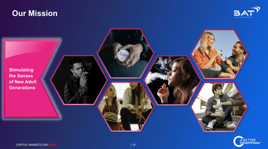 Slide showing images of young adults smoking, and using other next generation products