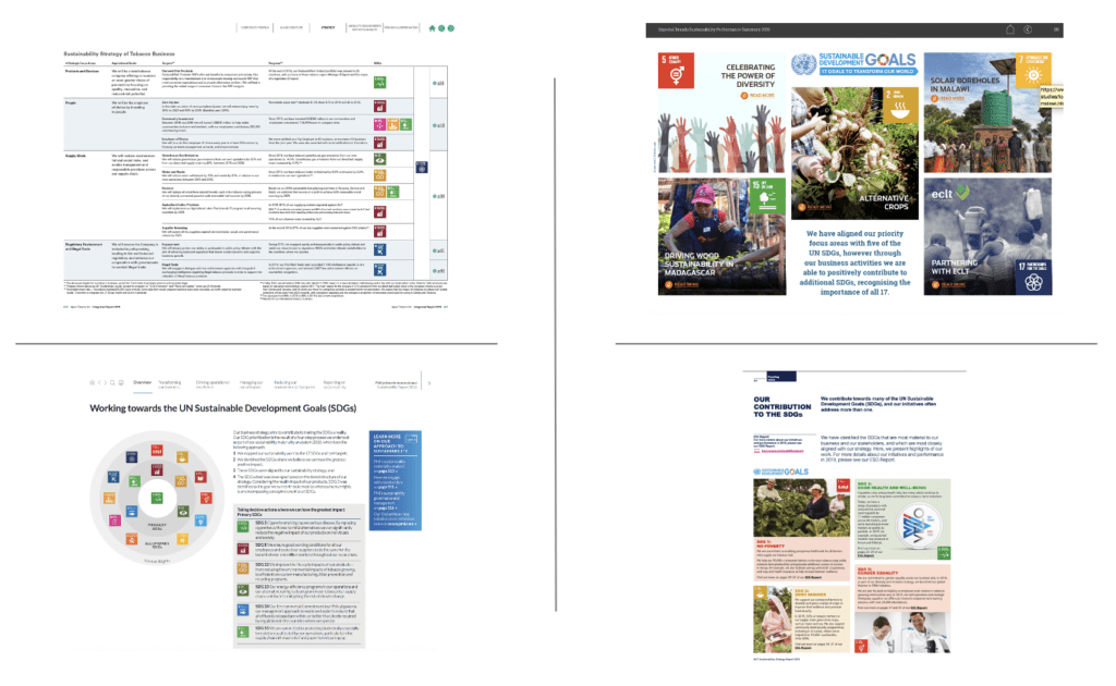Four images show pages from tobacco company reports that include information on how company strategy aligns with United Nations Sustainable Development Goals (UN SDGs). Clockwise from top left: JT Group 2019, Imperial Brands 2019, BAT 2019, PMI 2019.