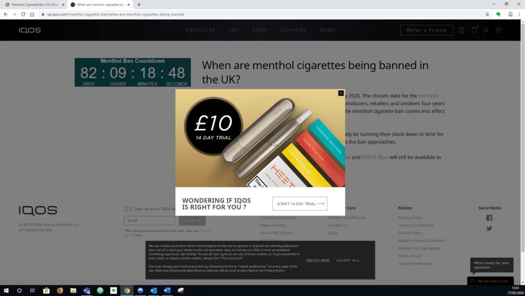 Image of screenshot with menthol ban countdown clock, and IQOS pop-up and £10 trial