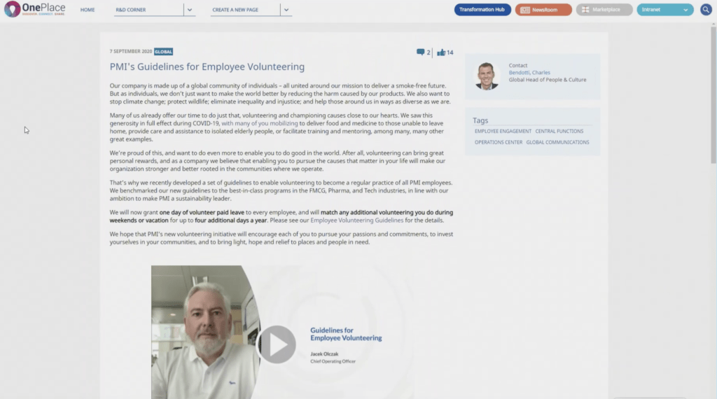 """A screenshot of an article on an internal PMI employee server called """"PMI's Guidelines for Employee Volunteering""""."""