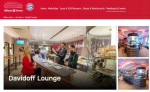 Davidoff lounge at Bayern Munich stadium